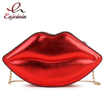 Sexy Lips Style Fashion Pu Ladies Day Clutch Bag Chain Purse Shoulder Bag Handbag Women's Crossbody Mini Messenger Bag Flap women s elegant day clutch in baroco style beautiful handbag with detachable chain messenger bag