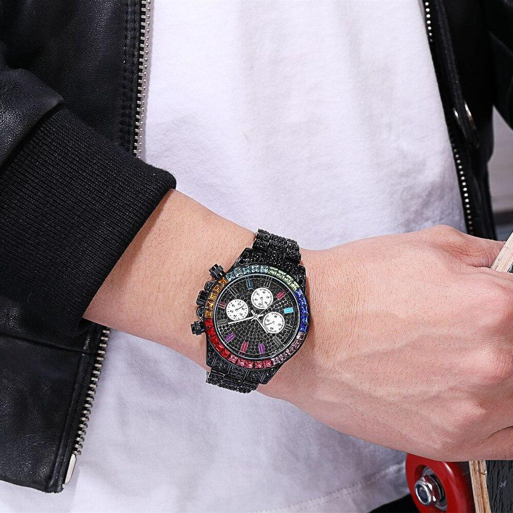 Hommes noir strass montre de haute qualité 3 yeux femmes coloré diamant montres de luxe amoureux calendrier robe montre livraison directe horloge