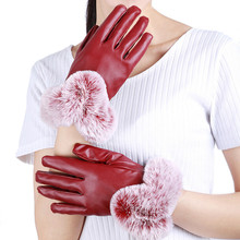 Winter Cold Warm Imitation Rex Rabbit Hair Female Gloves PU leather  Touch Screen Thickening Plush Lining Wrist