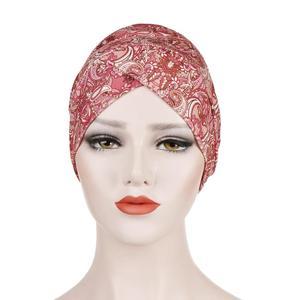 Image 4 - Gorro turbante estampado musulmán, sombrero islámico, étnico, para envolver la cabeza, hijab, gorros islámicos, turbante para interiores, 2019