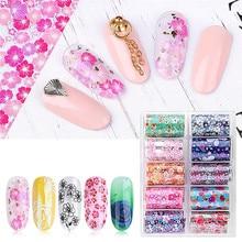 цена на 10 Rolls/Box Nail Foils Sticker Multi-pattern Colorful Nails Wraps Transfer Sticker Decals Tips Nail Art Decoration