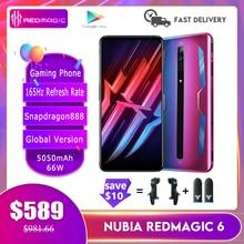 Nova nubia red magic 6/6pro versão global telefone de jogos 165hz atualizar taxa snapdragon888 66w 5050mah fastcharge refrigerado a ar