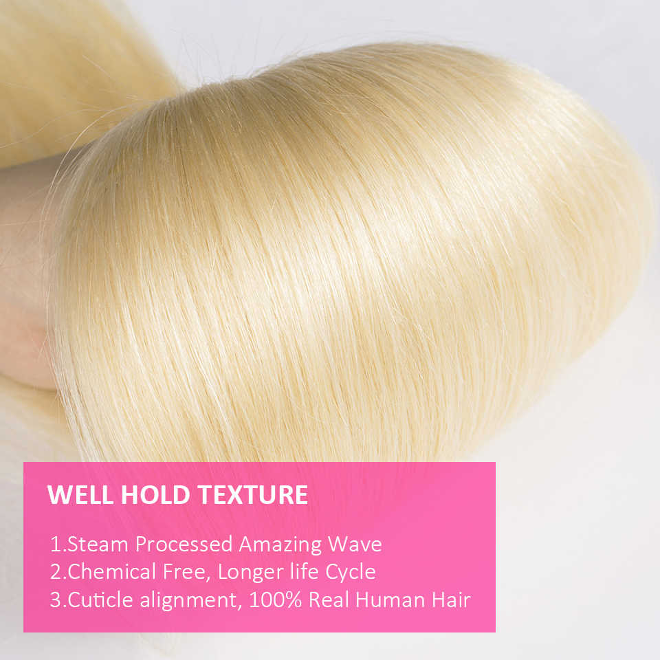 Cexxy Blonde Bundles With Frontal Human Hair Bundles Peruvian Straight Blonde Lace Frontal