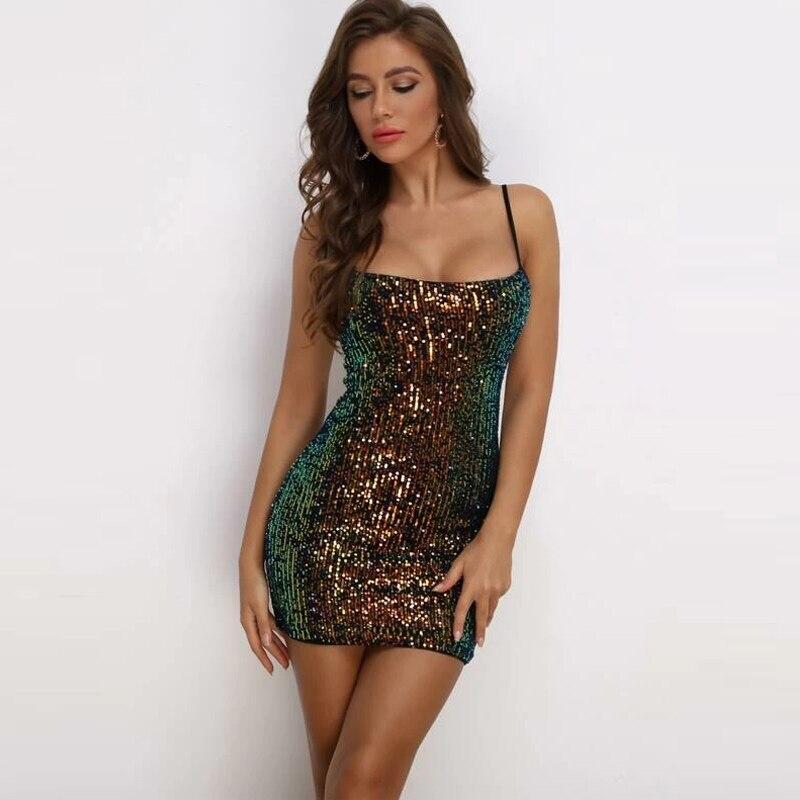 CLAUBTY Delle Donne Sparkling Sequin Mini Vestito Da Partito Del Club Vestiti Sexy Della Cinghia di Spaghetti Backless Profondo Slash Neck Dress Mujer Vestidos