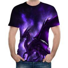Футболка uney dragon с принтом фиолетовый Графический топ коротким