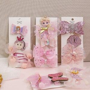 Детский комплект из заколки для волос с принтом «Холодное сердце», аксессуар для волос принцессы, повязка на голову с голубым бантом в Корей...