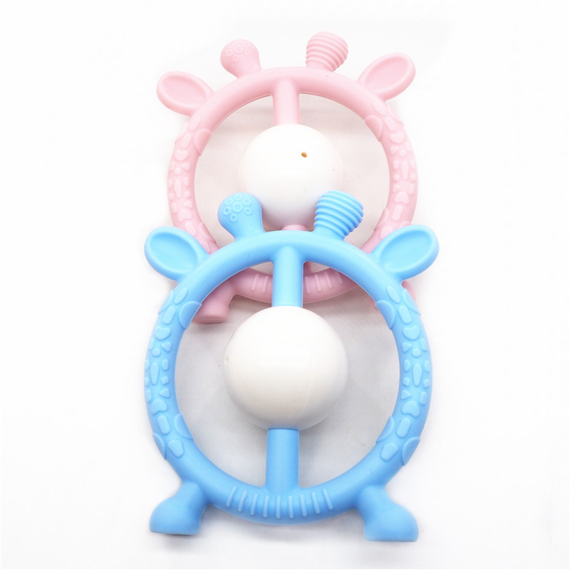 Chenkai 10pcs Silicone Giraffe Rattles Teether DIY Baby Animal Pacifier Dummy Sensory Pendant Teething Toy BPA Free