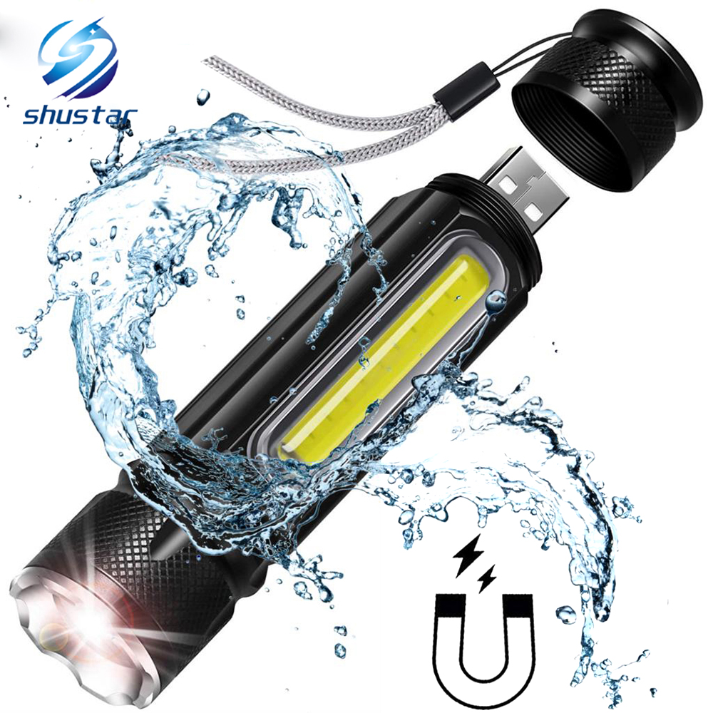 Waterproof Rechargeable LED Flashlight COB Work Light Torch 4 Lighting Modes Support Zoom Used For Camping, Cycling, Work, Etc
