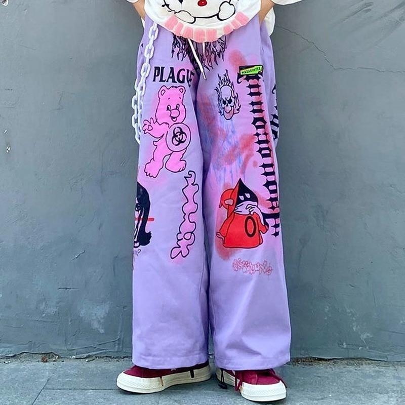 Брюки женские с широкими штанинами, прямые Стильные с мультяшным принтом, индивидуальная уличная одежда с граффити, свободные штаны, лето