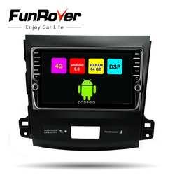 Funrover android 8,1 2din автомобильный мультимедийный dvd gps для Mitsubishi Outlander 2006-2014/peugeot 4007/Citroen C-Crosser 8 ядерный стерео