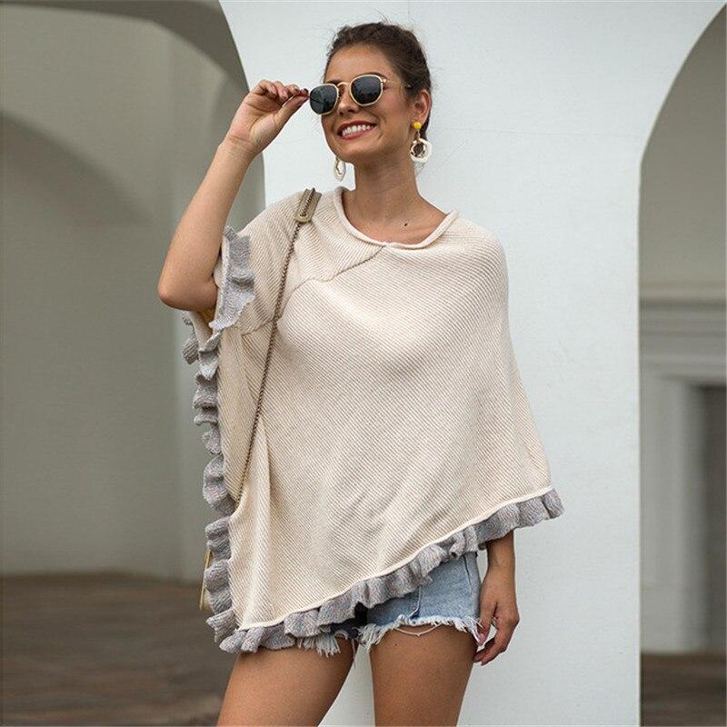 Women Sweater Cloak 2019 Ruffle Sleeve Lady O Neck Long Fashion Streetwear Autumn Windproof