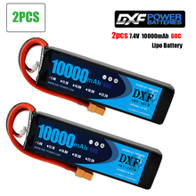 2PCSDXF Battery lipo 2S 7.4V 10000mah 60C 120C HV for rc Car drone FPV Walkera Q