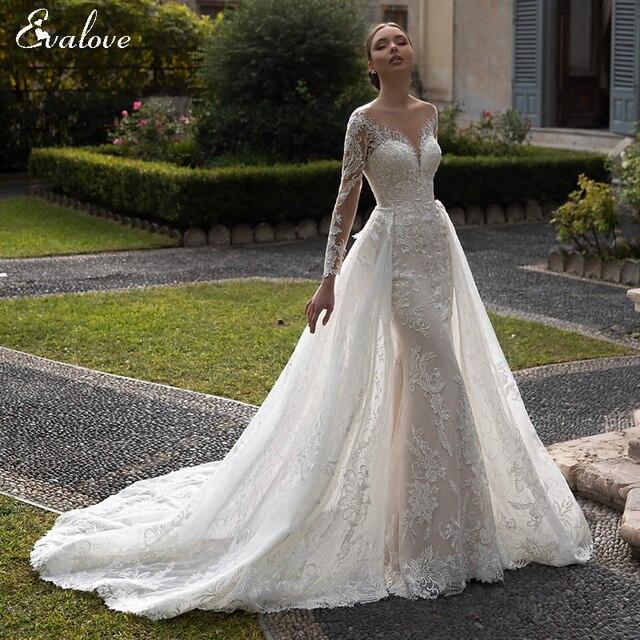 EVALOVE Glamorous Lace Appliques Detachable Train Mermaid Wedding Dress Luxury Scoop Neck Beaded Long Sleeve Trumpet Bridal Gown 1