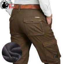 양털 따뜻한 겨울 카고 바지 남성 캐주얼 느슨한 멀티 포켓 남성 2020 군대 스타일 녹색 카키색 바지 크기 44 42 40