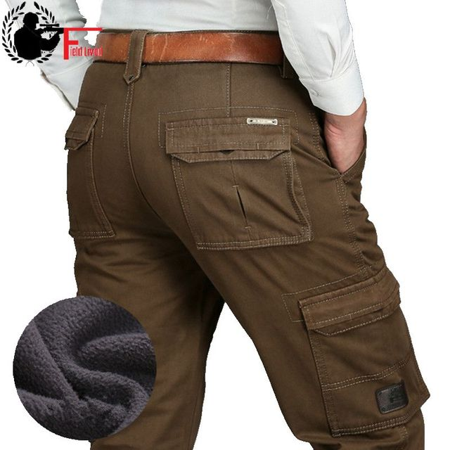 Lã quente inverno carga calças masculinas casuais solto multi bolso masculino 2020 estilo militar do exército verde cáqui tamanho 44 42 40