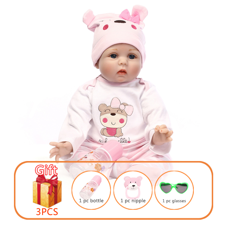 NPK 55cm Baby Silicone Dolls Reborn Dolls Vinyl Simulation Dolls Handmade Reborn Baby Cotton Toy Toddler Soft Dolls Toys For Kid