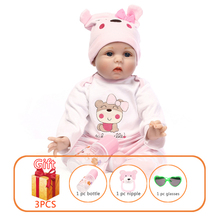 NPK 48/55cm Baby Silicone Dolls Reborn Simulation Handmade Cotton Toy Toddler Soft for Kids