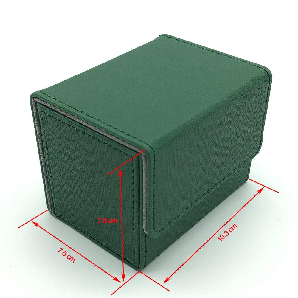 High Quality Small Side Open Magic/Pokemon/YuGiOh Card Deck Card Box: Green(China)