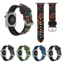 цена на Camouflage Strap for Apple Watch 4 5 Band 44mm 40mm Watch 42mm 38mm Silicone Sport Bracelet Watchband for iWatch Series 5 3 2 1