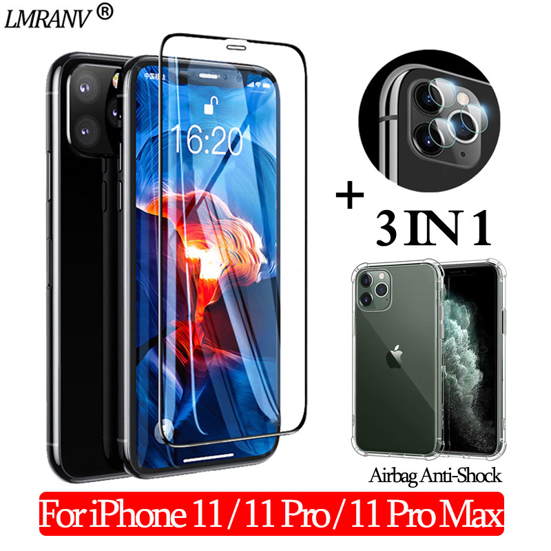 Airbag Shockproof Case + Cristal Templado for iPhone 11 Pro Max 3-in-1 Screen Protector Camera Glass for iPhone-11 11 Pro Glass