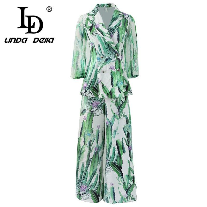 LD LINDA DELLA Spring Summer Fashion Ladies Suit V-Neck Bat sleeves Print Green Shirt And Maxi Pants Casual 2 Two Pieces Set