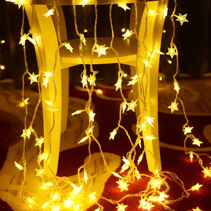 1.5/2/3/5meter Led Star String Lights Led Fairy Lights Battery String Lights Garland Star For Iftar Wedding Birthday Party Decor
