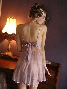 Image 2 - Nữ Dễ Thương Váy Ngủ Ren Nơ Sau Lưng Siêu Gợi Cảm Lưới Góc Nhìn Đêm Cám Dỗ Rỗng Ra V Sâu Đầm Ngủ