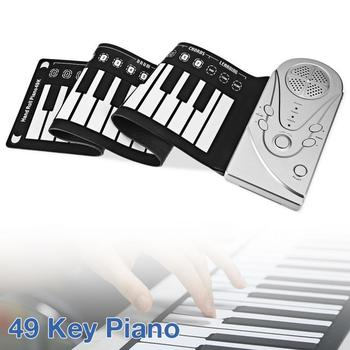 49 Keys Electronic Portable Silicone Flexible Hand Roll Up Piano Built-in SpeakerChildren  Keyboard Organ for Home Education electronic organ 61 keys electronic portable silicone flexible hand roll up piano built in speaker midi out keyboard organ