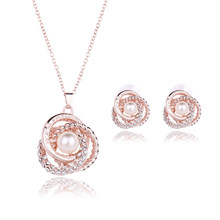 2018 Elegant Jewelry Sets Multilayer Pearl Pendent Necklace Stud Earrings set For Women Pearl Rose Gold color For Bride(China)