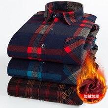 Мужская теплая фланелевая рубашка в клетку, Повседневная утепленная приталенная рубашка с длинными рукавами и плюшевой подкладкой, Осень зима 2019