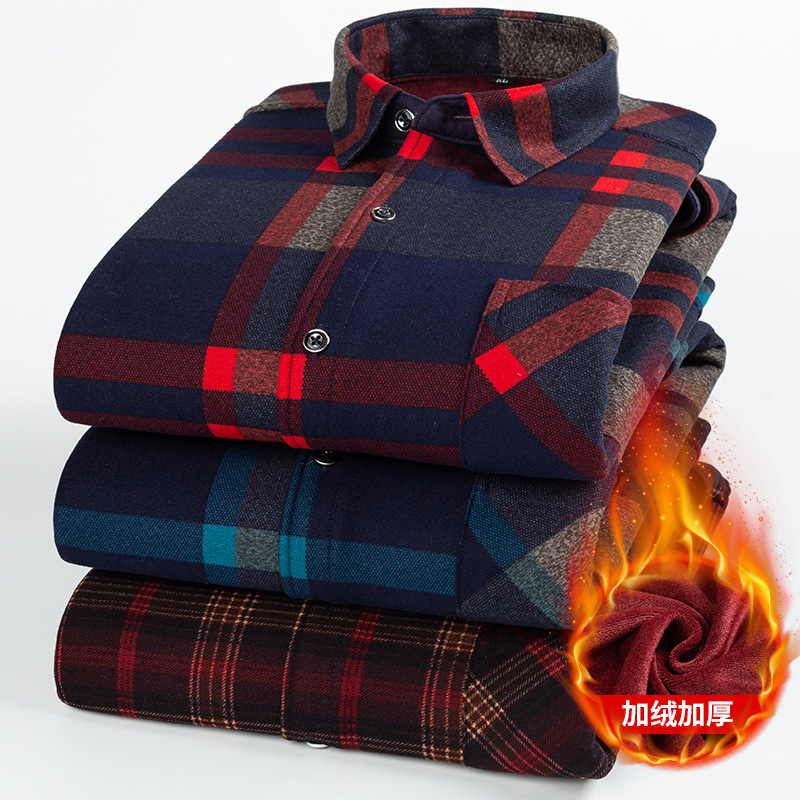2019 Autumn And Winter New Men's Warm Flannel Shirt Long Sleeve Men's Plaid Plush Thickened Shirt Casual Slim Fit Camisa Felpa