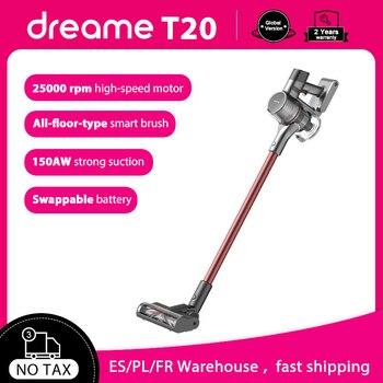 Ручной беспроводной пылесос Dreame T20, 25 кПа, всасывающий пылесос с щеткой для всех поверхностей, пылесборник, беспроводной аспиратор для пола и ковров, 150 Вт Пылесосы      АлиЭкспресс