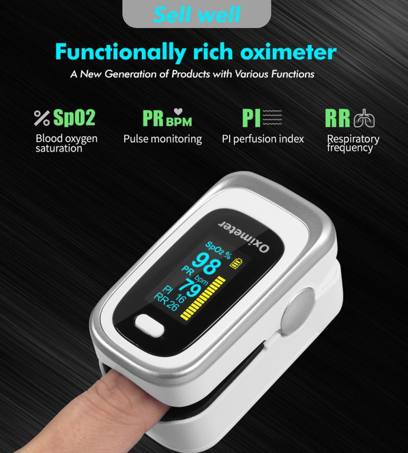 4Colors Finger Oximeter Oxygen Mater Saturation Monitor Fingertip Oximeter Tester Monitor SpO2 Heart Rate Monitor Oximeter