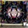 Moon Tapestry Wall Hanging Coloful Sun Tapestries Psychedelic Burning Sun with Star Hippie Blanket Decor for Room Aesthetic