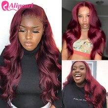 AliPearl волнистые кружевные передние парики для черных женщин 99J кружевные передние человеческие волосы парики бразильские волосы парик ...
