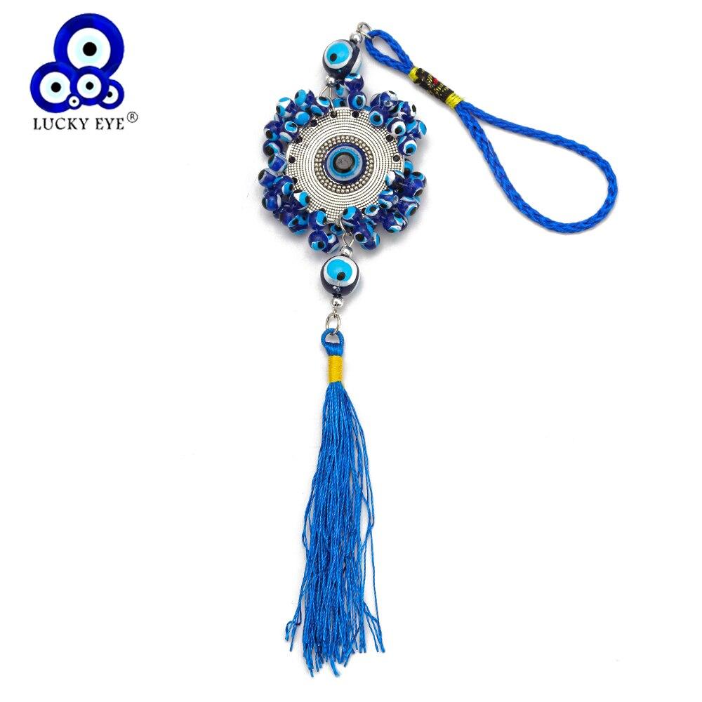 Lucky Eye Tassel Turkish Evil Eye Keychain Car Keyring Wall Hanging Metal Pendant Key Chain Holder Jewelry For Women Men EY6537