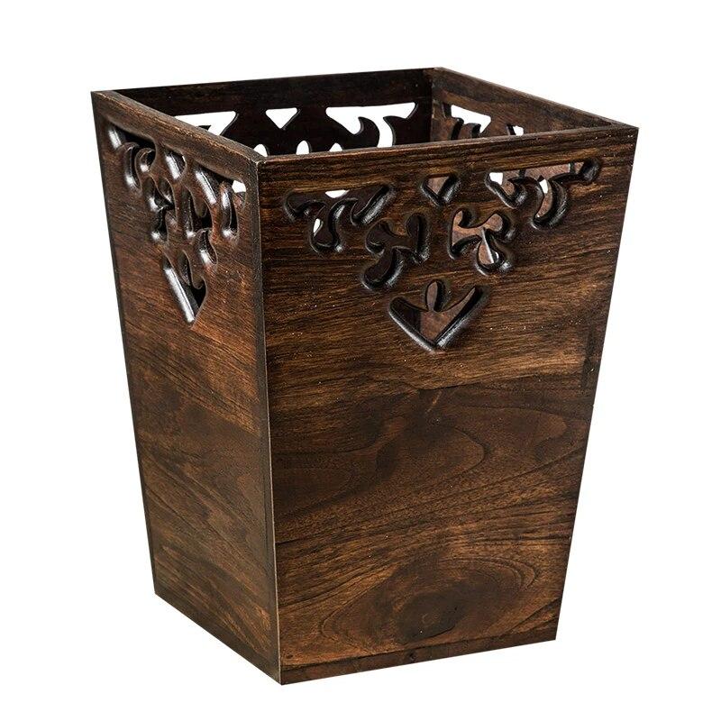 solid wood dustbin trash can home retro hollow waste bin trash multifunction poubelle de cuisine storage box
