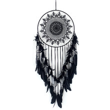 Black Dream Catcher 120cm Home Decor nursery Girls Room Decoration Wind Chimes Wall Art Big Dreamcatcher(China)