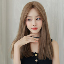 PIAOYUN WIGS Long Straight Hair with Bang Synthetic Brown 20 Inches Heat Resistant Wig for Women New Hot Sale Wholesale Wig