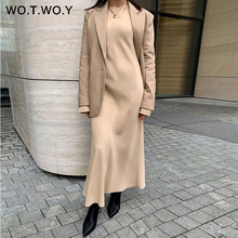 WOTWOY Elegant Long Sleeve Satin Dress Women Solid Mid-Long Loose Dresses Women Cotton Autumn Dress Woman Vestidos Femme Robe
