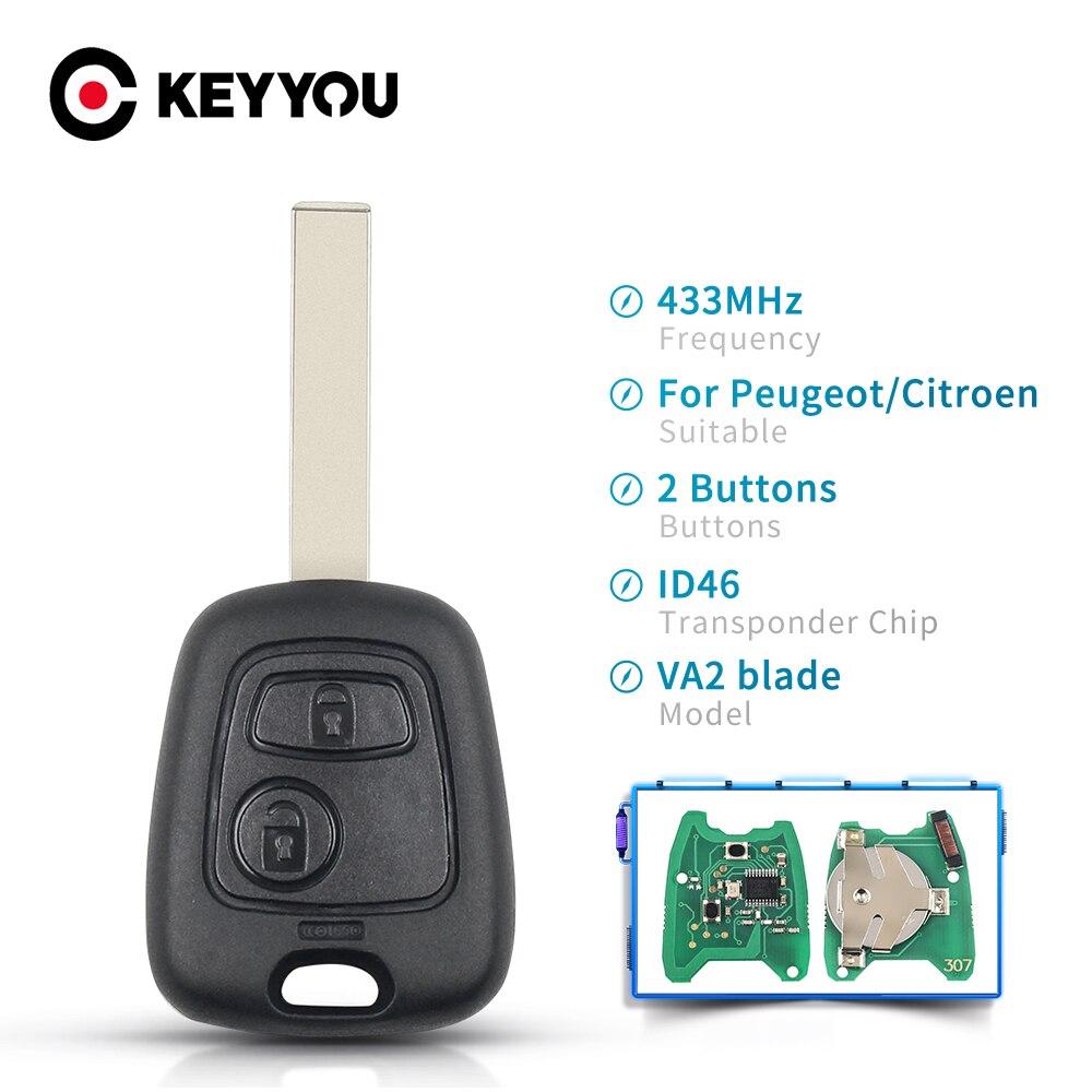 KEYYOU 433 Мгц дистанционный Автомобильный ключ без ключа 2 кнопки для Peugeot 307 Citroen C1 C3 Автомобильный ключ VA2 Blade с чипом ID46 PCF7941 Корпус Ключа