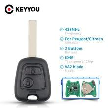 KEYYOU 433MHZ Fernbedienung Auto Schlüssel Keyless 2 Tasten Für Peugeot 307 Citroen C1 C3 Auto Schlüssel VA2 Klinge Mit ID46 Chip PCF7941 Schlüssel Shell