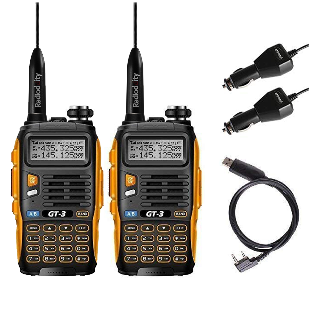 2 uds., Baofeng GT-3, MarkII, banda Dual VHF/UHF 136-174/400-520MHz, Ham, Radio bidireccional, Walkie Talkie, Cable de programación Antena de Quad Band de Radio móvil, 144/220/350/440MHz, para walkie talkie de coche QYT KT-7900D, antena móvil de ANT-7900D
