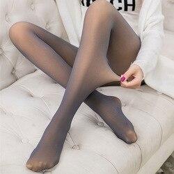 Velvet Leggings Women High Waist Through The Meat Warm Casual Pants Sexy Fake Translucent Thin Elasticity Black 80D