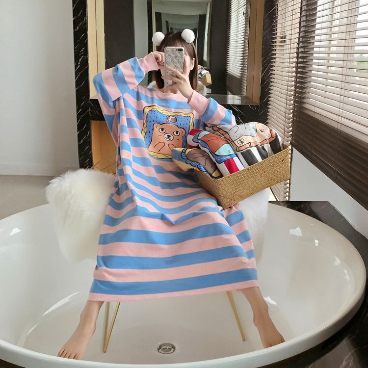 Nightgown Women's Long Sleeve Autumn Pink And Blue Stripes Bear Skirt M-xxl3 A Color