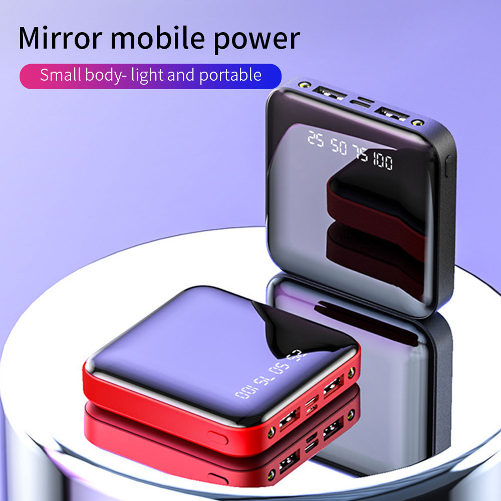 Mini Power Bank 20000mAh For Xiaomi IPhone 10000mah Portable Charger LED Mirror Back Power Bank External Battery Pack Poverbank