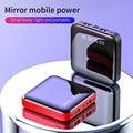 Mini banco de potência 10000mah para iphone 10000mah carregador de bateria portátil led espelho volta powerbank bateria externa pacote poverbank