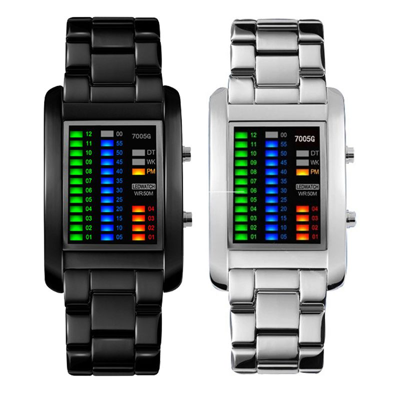 Men Women Digital Wristwatches Creative LED Light Electronic Male Female Clock Fashion Korean Style Casual Couple Bracelet Watch