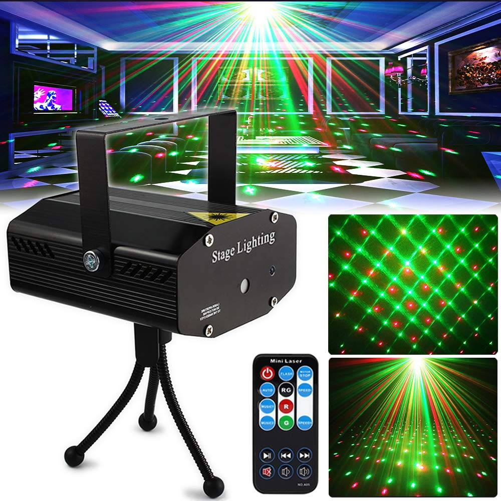 R&G Laser Light Disco DJ Stage Lights Projector Mini Auto Flash Sound Activated With Remote Control For Dancing KTV Bar Birthday