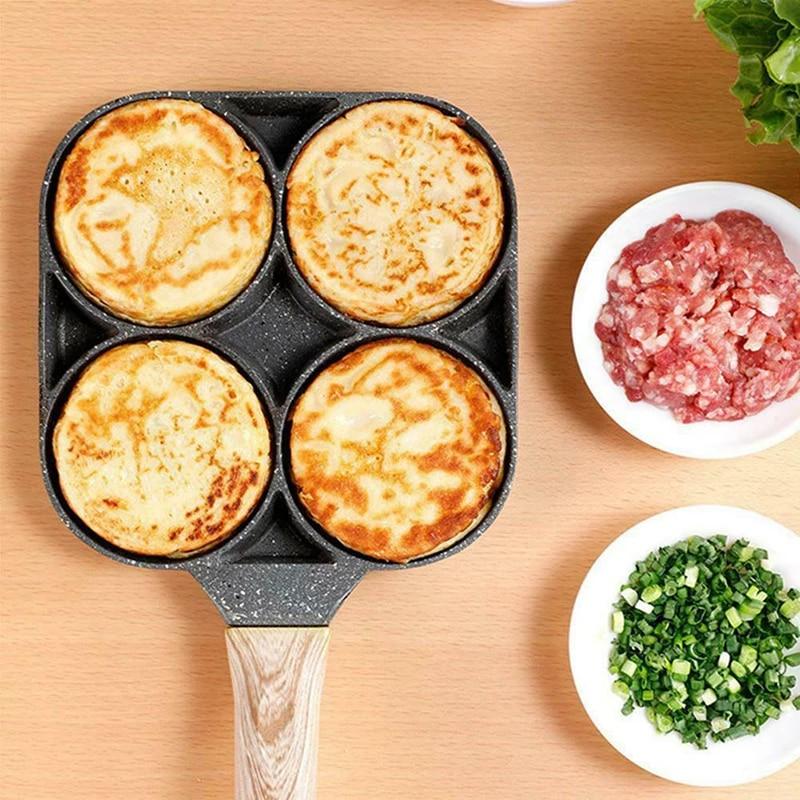 4 Hole Fried Egg Burger Pan Non-stick Ham Pancake Maker Wooden Handle